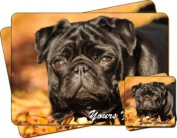 "Black Pug Dog ""Yours Forever..."" Sentiment Twin Leather Coaster and Placemat Gift Set"