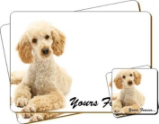 "Cockerpoodle Dog ""Yours Forever..."" Sentiment Twin Leather Coaster and Placemat Gift Set"