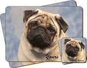 "Fawn Pug Dog ""Yours Forever..."" Sentiment Twin Leather Coaster and Placemat Gift Set"