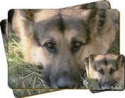 "German Shepherd Dog ""Yours Forever..."" Sentiment Twin Leather Coaster and Placemat Gift Set"