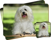"Havanese Dog ""Yours Forever..."" Sentiment Twin Leather Coaster and Placemat Gift Set"