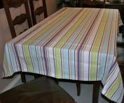 Homescapes - Osaka Green Stripe - 137cm x 229cm - Tablecloth - Green, Blue, White, Wine Stripes - 100% Cotton, Washable at 60 Deg C