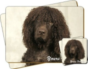 "Irish Water Spaniel Dog ""Yours Forever..."" Sentiment Twin Leather Coaster and Placemat Gift Set"