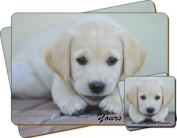 "Labrador Puppy Dog ""Yours Forever..."" Sentiment Twin Leather Coaster and Placemat Gift Set"