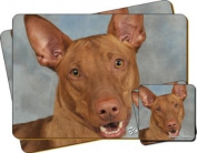 "Pharaoh Hound Dog ""Yours Forever..."" Sentiment Twin Leather Coaster and Placemat Gift Set"