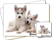 "Siberian Huskies Dog ""Yours Forever..."" Sentiment Twin Leather Coaster and Placemat Gift Set"