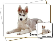 "Siberian Husky Dog ""Yours Forever..."" Sentiment Twin Leather Coaster and Placemat Gift Set"