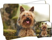 "Yorkshire Terrier Dog ""Yours Forever..."" Sentiment Twin Leather Coaster and Placemat Gift Set"