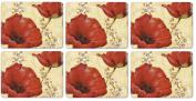 Pimpernel Poppy De Villeneuve Placemats - Set of 6