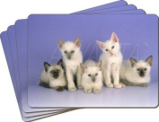 Balinese Kittens Leather Placemat New Gift Set, Ref:AC-88P