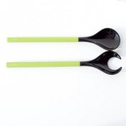 ASA Cucina Insalata Salad Servers, black porcelain with green handles