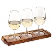Utopia Acacia Wood Wine Flight with Wine Glasses | Wine Glass Paddle, Wine Tasting Set