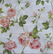 IHR Rambling Rose Cream pink luxury paper napkins new 20