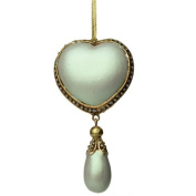 Ornate Iridescent Pale Green Heart with Droplet - 13cm