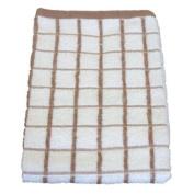 100% Cotton Jumbo Terry Towelling Tea Towel, Coffee/White