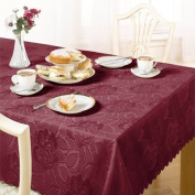 Damask Rose Tablecloth, Wine, 178cm Round Diametre