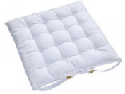 Homescapes - Seat Pad - White - 40 x 40 cm - Indoor - Garden - Dining - Chair Cushion with a Button Tie Handle to fix to Chair - 100% Cotton - Well Filled - Easy Care - Washable At Home