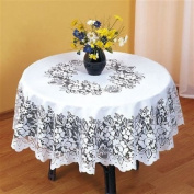 SUPERB WHITE HEAVY LACE ROUND TABLE CLOTH 81cm ROUND ***FIL***