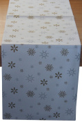Homescapes - Christmas - Table Runner - Gold Snowflake - X Mas design - 38cm x 140cm - 100% Cotton - White and Gold Colour - Washable at Home