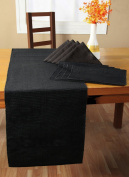 Homescapes - Table Runner - Black - 100% Ribbed Cotton - 17 x 70 Inch ( 44 x 178 cm ) - Easy care - Washable at 60 Deg C