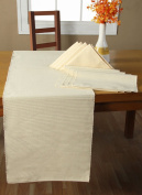 Homescapes - Table Runner - Cream - 100% Ribbed Cotton - 17 x 70 Inch ( 44 x 178 cm ) - Easy care - Washable at 60 Deg C