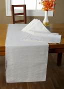 Homescapes - Table Runner - White - 100% Ribbed Cotton - 17 x 70 Inch ( 44 x 178 cm ) - Easy care - Washable at 60 Deg C