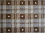 200cm x 137cm (2 metres) BROWN cheque HEARTS WIPE CLEAN VINYL / PVC TABLECLOTH