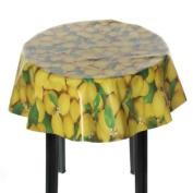 Easy Wipe Round Vinyl Tablecloth (137cm diameter) - Lemons Design