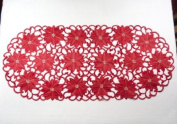 """Christmas Tablecloth - Runner Oval 34""""x14.5"""" (86x37cm) - Red Poinsettia Xmas embroidery"""