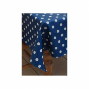 200cm x 137cm (2 metres) BLUE POLKA DOTS WIPE CLEAN VINYL / PVC TABLECLOTH