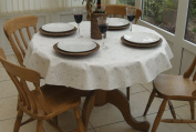 140cm ROUND PVC/VINYL TABLECLOTH - WHITE WITH SILVER SWIRL