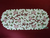 """Tablecloth accessories - Table Runner - Oval 34"""" (86cm) - Pink Rose with White daisy embroidery"""