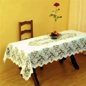 SUPERB CREAM HEAVY LACE TABLE CLOTH 132cm X 178cm RECTANGLE ***FIL***