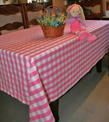 Homescapes - Block Cheque Pink - 137cm x 229cm - Tablecloth - Pink White Cheque - 100% Cotton - Washable at 60 Deg C