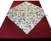 """Tablecloth accessories - Table Runner - Square Runner 33.5"""" (85cm) - Pink Rose with White daisy embroidery"""