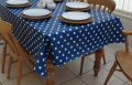 140x300cm OBLONG PVC/VINYL TABLECLOTH - BLUE & WHITE POLKA DOT