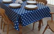 140x300cm OBLONG PVC/VINYL TABLECLOTH - BLUE & WHITE POLKA DOT