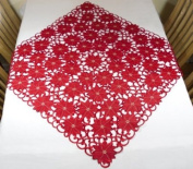 """Christmas Tablecloth - Square 33""""x33"""" (85x85cm) - Red Poinsettia Xmas embroidery"""