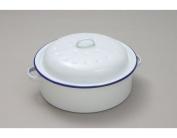Round Enamel Roaster, White 26cm Oven Safe Cookwear