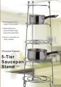 5 TIER CHROME METAL KITCHEN SAUCEPAN STAND RACK