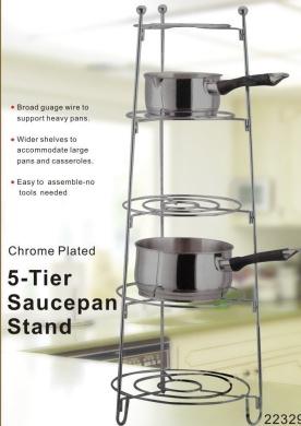 5 Tier Chrome Metal Kitchen Saucepan Stand Rack Online For