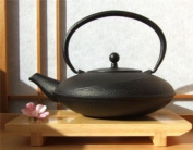 Black Tetsubin style cast iron flared teapot kettle 1 litre with circular design