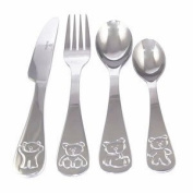 Viners Childrens Bertie Bear 4-Piece Cutlery Set, Gift Box
