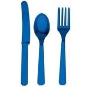 Disposable Party/Picnic Plastic Cutlery Knife-Fork-Spoon 24 pieces (8 Sets) - Royal Blue