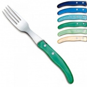 ProPassione Laguiole Berlingot Table Forks BleuVert, set of 6 in box, acrylic handles, colours