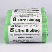 8 Litre (Wide fit version) x 75 bags Biobag Compostable Kitchen Caddy Liner - Food Waste Bin Liners - EN 13432 - Biobags 8L Bags with Composting Guide