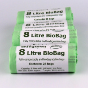 8 Litre x 100 bags (4 Rolls) Biobag Compostable Kitchen Caddy Liner - Food Waste Bin Liners - EN 13432 - Biobags 8L Compostable Bags with Composting Guide