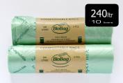 240 Litre Cornstarch Wheelie Bin Liner 10 Pack(2 rolls) - 100% Biodegradable & Compostable