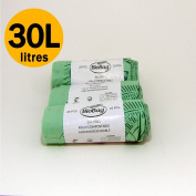 30 Litre x 75 bags Compostable Bags - Biobag Kerbside Food Waste Caddy Liners - EN 13432 - Biobags 30L Bin Bags with Composting Guide