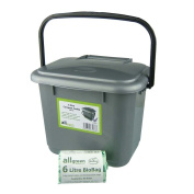 Silver Grey Kitchen Compost Caddy (5L - Small) & 50x 6L Biobags - for Food Waste Recycling (5 Litre) - 5L Plastic Composting Bin